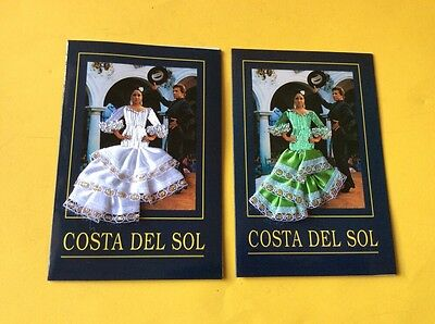 Two Spanish Cards. Spanish Girl With Embroidered Dress One White One Green