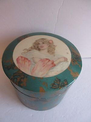 Antique Vtg Victorian Lady Celluloid Collar Box with ORIGINAL COLLARS