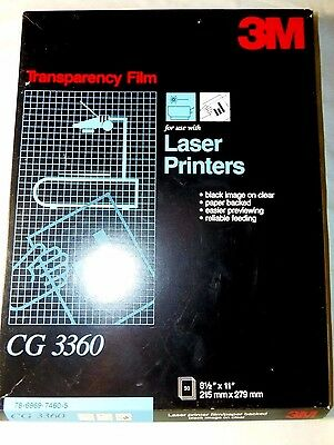 3M Transparency Clear Film 50 Sheets Paper Backed Laser Printer CG3360 OPENED