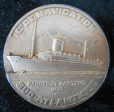 1939-SS PASTEUR OCEANLINER - SILVER -EXTREMELY RARE -ART DECO by BAZIN