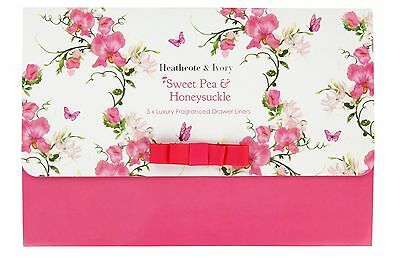 Heathcote & Ivory Sweet Pea and Honeysuckle Luxury Fragranced Drawer Liners S...