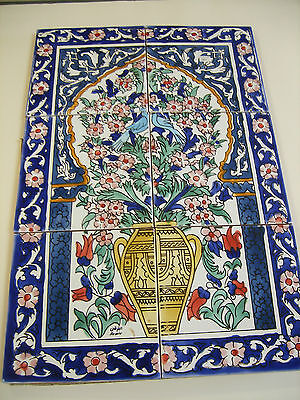 "DECORATIVE CERAMIC TILES MOSAIC PANEL HAND PAINTED WALL MURAL TILE 18"" x 12"""