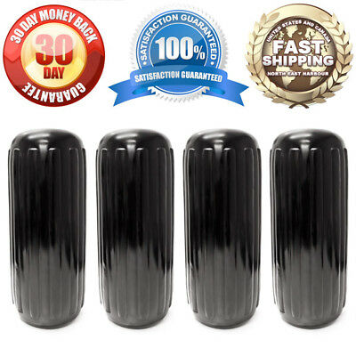 """Center Hole Ribbed Boat Fender 10""""x 28"""" 4pc Inflatable Vinyl Mooring Guard Black"""