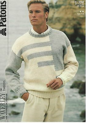 "Mens Dk Easy Knit Sweater 32-44"" Patons 3158 Vintage Knitting Pattern"