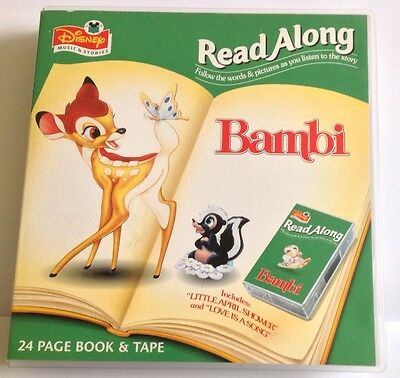 Disney Bambi Read Along 24 Page Book And Tape UK Printed 1996