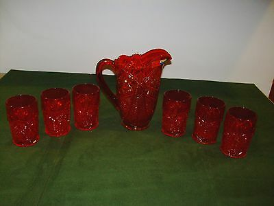 Vintage L.E. Smith Glass 7 Piece Water Pitcher Set Ice Tea Flame Ruby Red NOS