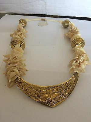 Brass and  Sea Shell Necklace