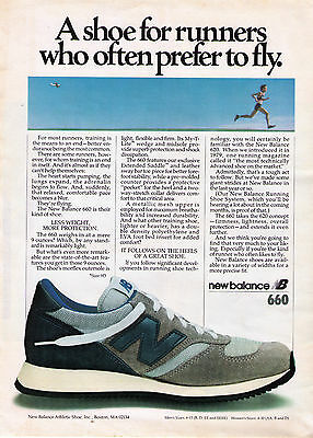 """1981 New Balance 660 """"Shoe For Runners Who Prefer To Fly"""" Running Shoe Print Ad"""