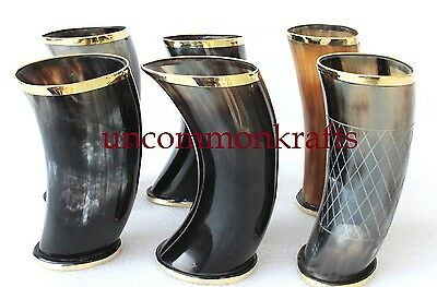 "Set of 6 handmade Viking Drinking Horn mug cups 6"" for ale beer wine mead gift"
