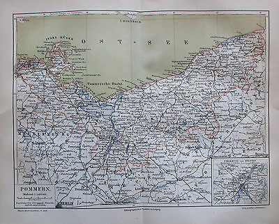 1889 POMMERN original antike Landkarte Lithographie old map