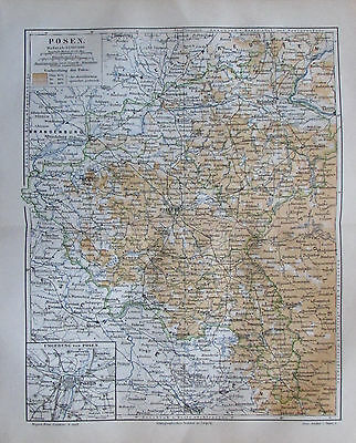 1889 POSEN Polen original antike Landkarte Lithographie old map