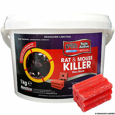 1kg Muskil Wax 25g Blocks - Unique Dual Active Rodenticide Rat & Mouse Killer