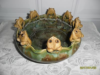 Vintage Frogs On Lily Pad Bowl Majolica Art Pottery **so Cute!!!**
