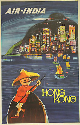 """AIR-INDIA (HONG KONG)"" Affiche Indienne originale entoilée années 50"