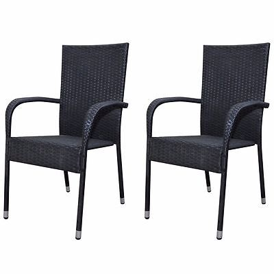 2x Poly Rattan Wicker Garden Chairs Set Outdoor Patio Seat Stackable Black