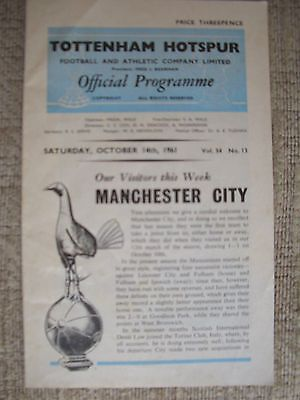 1961...TOTTENHAM HOTSPUR v MANCHESTER CITY....Division One....Football Programme