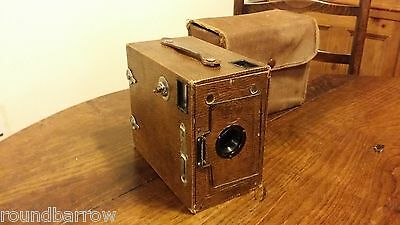1920's Vintage Box Camera Houghton Butcher Ensign 2 1/2 Brown - Good Condition