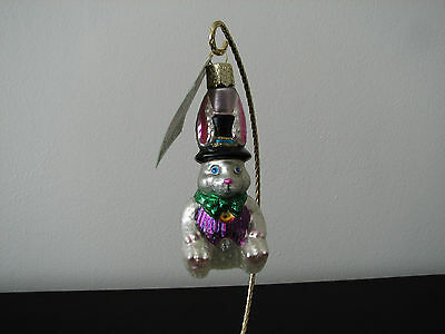 Old World Christmas The Top Hat Bunny Ornament #12019 NEW
