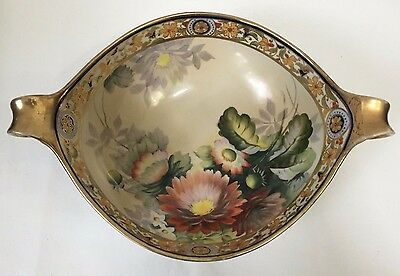 GORGEOUS Hand Painted Porcelain Nippon China Bowl W/ Handles, Floral (RF321)