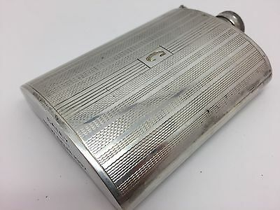 """Sterling Silver Hip Flask, New Delhi 1997, Personalized """"Caley"""" (RF563)"""