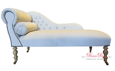 Beautiful Bespoke Cream Velvet Chaise Longue with Stud Detail