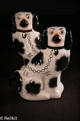 """Vintage LARGE Pair Staffordshire Ware Kent England Dogs 10 3/4"""" Tall Figurines"""