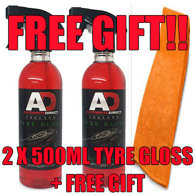 2 X 500Ml Autobrite Direct Tyre Gloss Tyre Shine Silicone Dressing Gel 1L + Gift