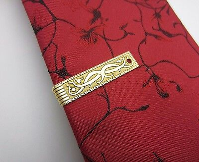 Men's Vintage Tie Clip Bar Organic Scroll Design Gold Tone Metal Pat No 2853761