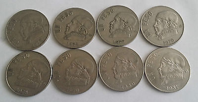 HOT DEAL Mexican Coins un peso lot 1974 to 1981