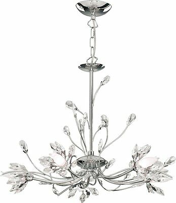 Searchlight - 1885-5CC Hibiscus 5 Light Crystal Chandelier Finish: Chrome