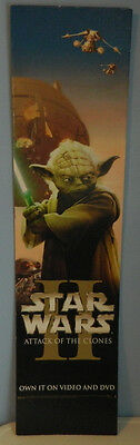 Rare STAR WARS Attack Of The Clones -Yoda- Retail Movie Cardboard Poster 11 x 44