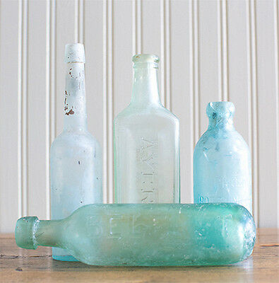 Sea Glass Bottles, Set of 4 Shades of Blue