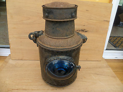 Old Australian N.s.w Government Railways Large Steel Train Lamp, 'blue' (233)