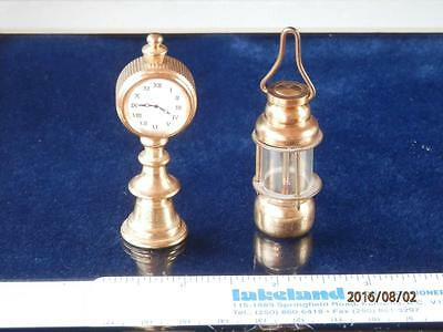 Vintage  Brass  Collectible Miniatures - Stand Up Clock - Glass Covered Lamp