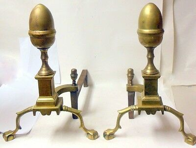 Vtg Brass Harvin co. Andirons ACORN Ball & Claw  Feet Chippendale Americana
