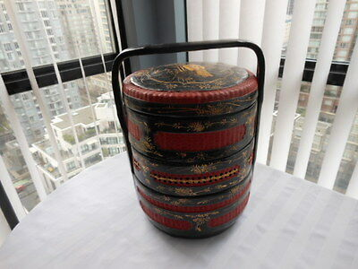 Chinese 3 Tier Wedding Basket.  Black, Red & Gold.