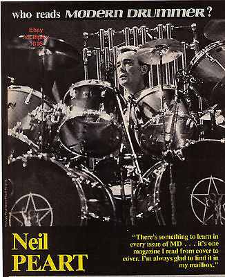 Neil Peart of Rush Modern Drummer Magazine Paul Natkin Pic Print Advertisement