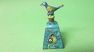 Small size Chinese Enamel bell blue multi colored bird