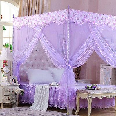 Princess Lace Flower Four Corner Poster Bed Canopy Mosquito Netting Single Queen