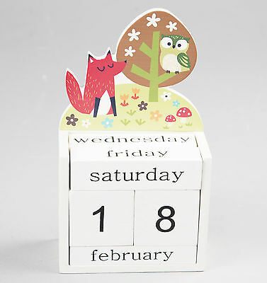 Wooden owl & fox calendar block, Sass and Belle, great gift idea, present