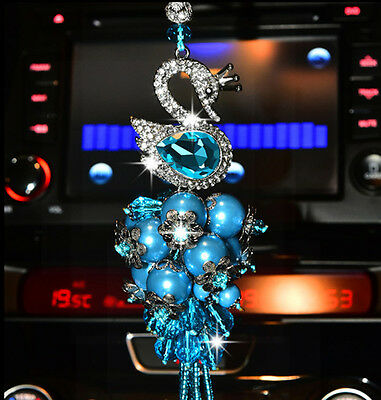 Crystal swan pendant car interior Mirror Hanging Ornament Accessories Blue UK