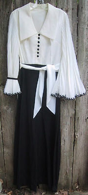 Black and White Wide Leg One Piece Suit Pleated Sleeves Vintage 60's