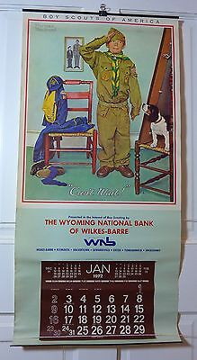 "1972 BOY SCOUTS OF AMERICA Calendar - 16""x33"", ""Can't Wait"" by NORMAN ROCKWELL"