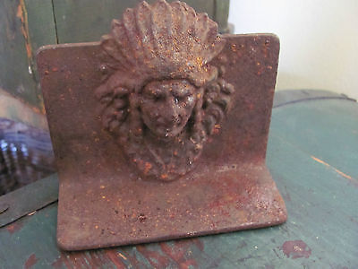 "Metal Indian Head Book End Figurine, Rusty Patina, 3 3/4"" Tall"