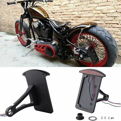 Black Side Mounting License Plate Bracket LED Tail Light Harley Sportster Bobber