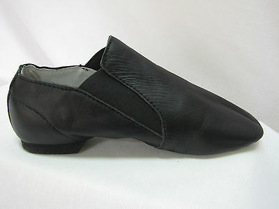 Jazz Dance Shoes, Split Sole Pull On Bootie, Black Leather, Sizes, New