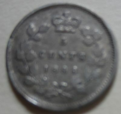 1886 Canada Silver Five Cents Coin. NICE GRADE (F334)