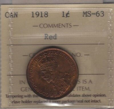 1918 Canada Large Cent Coin. ICCS MS-63 RED UNC.