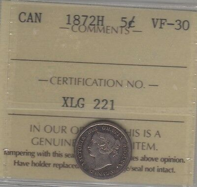 1872 H Canada Silver Five Cents Coin. ICCS VF-30