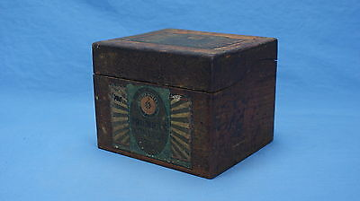 Antique GENERAL MILLS PRODUCTS CONTROL OAK SERVICE BOX with LID GOLD MEDAL FLOUR